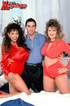 Two hot busty chicks in red enjoy hardcore threesome with guy sucking