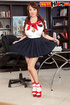 Cute Asian babe in school uniform flashes hot slim shape and extra big