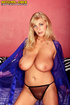 Stunning blonde in see through purple robe plays with sexy tits and rides