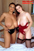 Fresh ebony and creamy white babe in black and red lingerie explore big