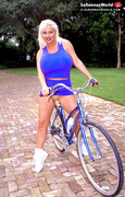 bicycle, big tits, skirt, tits