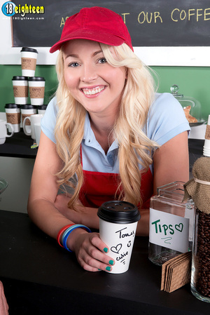 Blonde barista in a red hat and apron ge - XXX Dessert - Picture 1