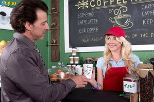 Blonde barista in a red hat and apron ge - XXX Dessert - Picture 2