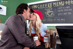 Blonde barista in a red hat and apron ge - XXX Dessert - Picture 4