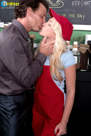 Blonde barista in a red hat and apron ge - XXX Dessert - Picture 6