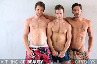 gay blonde black shorts
