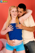 Excellent floozy in a blue shirt and shorts does the reverse cowgirl on