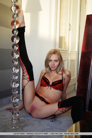 Blonde bombshell in black and red linger - XXX Dessert - Picture 5