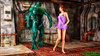 Green stinky monster drilling hot redhead badly