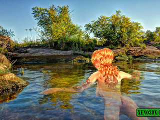 Tattooed red beauty gets banged by green water - Picture 1