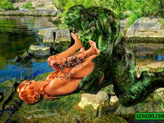 Tattooed red beauty gets banged by green water - Picture 5