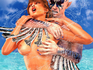 Bald water-sprite with huge dong pounding brunette - Picture 2