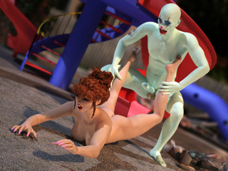 Pale-skinned bald clown drilling badly red hottie on - Picture 5