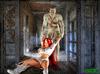 Frankenstein handling ponytailed red hottie in the dungeon