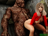 Dude jerking off while spying awful monster banging his blonde girlfriend