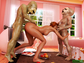 Two short aliens handling red-haired slut - Picture 4