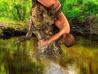 Dirty brunette giving handjob to the water sprite - Picture 4