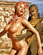 Boobed fairy gets fucked by lizard alien outdoors