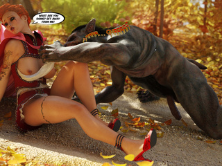 Tattooed Little Red Riding Hood blowing wolf's huge - Picture 3