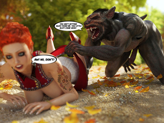 Tattooed Little Red Riding Hood blowing wolf's huge - Picture 4
