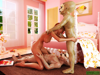 Slutty red bitch rocking with two short aliens with - Picture 2