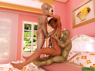 Slutty red bitch rocking with two short aliens with - Picture 3
