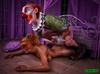 Pigtailed red teen fucking with skinny clown