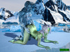 Green-skinned babe gets poked hard on the ice by muscular creature
