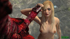 Furious red dragon with horns attacks blonde hottie