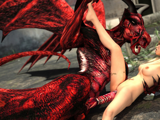 Red dragon with wings and horns pounding hot blonde - Picture 3