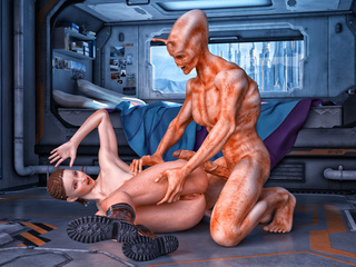 Long-cocked alien fucking girl with braids on the - Picture 3