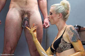 Lady in yellow latex gloves manhandles a - XXX Dessert - Picture 7