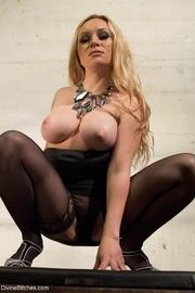 long-haired stern blonde hottie
