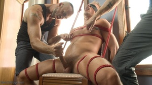 Inked lad gagged and tied up gets his co - XXX Dessert - Picture 7