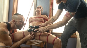 Inked lad gagged and tied up gets his co - XXX Dessert - Picture 12