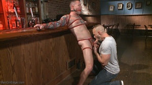 Inked dude gagged, blindfolded and tied  - XXX Dessert - Picture 15