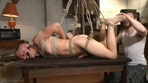Gagged, hogtied and suspended guy gets h - XXX Dessert - Picture 12