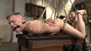 gagged hogtied and suspended