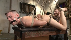 Gagged, hogtied and suspended guy gets h - XXX Dessert - Picture 14