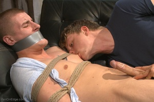 Bound and suspended stud gets his cock s - XXX Dessert - Picture 2