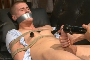 Bound and suspended stud gets his cock s - XXX Dessert - Picture 4