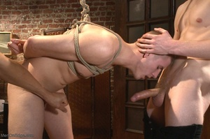 Bound and suspended stud gets his cock s - XXX Dessert - Picture 10