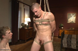 Bound and suspended stud gets his cock s - XXX Dessert - Picture 13