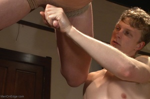 Bound and suspended stud gets his cock s - XXX Dessert - Picture 16