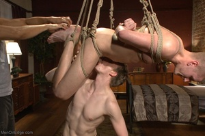 Bound and suspended stud gets his cock s - XXX Dessert - Picture 17