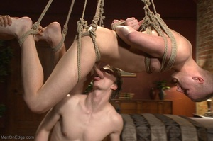 Bound and suspended stud gets his cock s - XXX Dessert - Picture 18