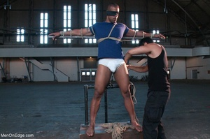Black lad in blindfold gets flogged whil - XXX Dessert - Picture 2