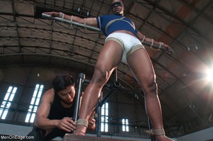Black lad in blindfold gets flogged whil - XXX Dessert - Picture 3