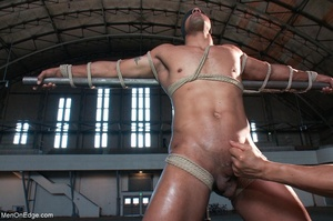 Black lad in blindfold gets flogged whil - XXX Dessert - Picture 4