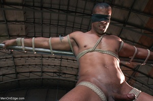 Black lad in blindfold gets flogged whil - XXX Dessert - Picture 5